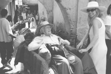 Vanessa visiting Marrakech in Morocco with her father in 2006.
