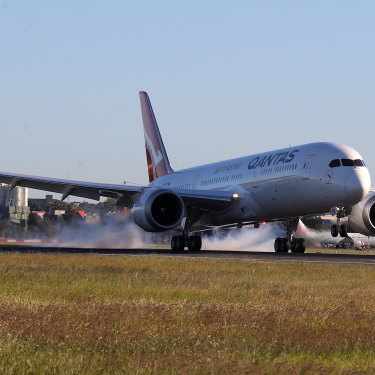 Qantas flight 7879 lands at Sydney Airport on Sunday morning after flying 19 hours and 16 minutes from New York.