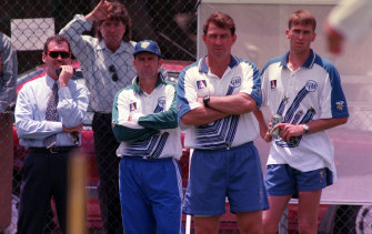 Hohns (far left) watches a 1996 net session with then captain Mark Taylor, coach Geoff Marsh, and Glenn McGrath.