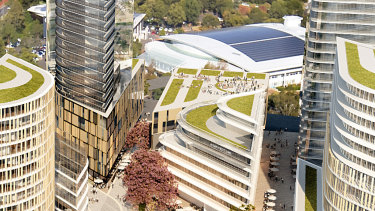 An artist's impression of Mulpha's proposed site in the Norwest City centre, in Sydney's north-west, for an education provider to establish a university campus.