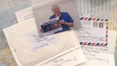 The hand-written letter Mr Deschamps received from Sir Attenborough