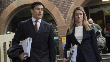 Sam Burgess's lawyer, Bryan Wrench, leaves Moss Vale Courthouse.