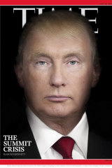 A photo illustration blending portraits of US President Donald Trump and Russian President Vladimir Putin is Time magazine's latest provocative cover image.