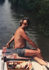 Andrew Jack on his first narrowboat, in 1989.
