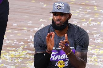 LeBron James celebrates making it to the NBA finals.