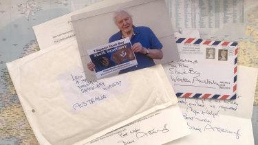 The hand-written letter Mr Deschamps received from Sir Attenborough