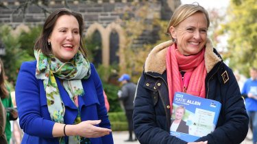 Former cabinet minister Kelly O'Dwyer supports Liberal candidate Katie Allen outside prepoll booths in Higgins.