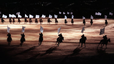 Australian horses take part in the Sydney Olympic Games opening ceremony rehearsal in 2000.