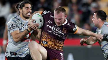 Grunt work: Matt Lodge proves a handful for the Warriors.