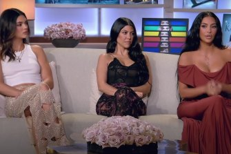 Kendall Jenner, left, with sisters Kourtney and Kim Kardashian during the reunion special.
