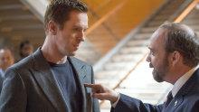 Damian Lewis as Bobby 'Axe' Axelrod  and Paul Giamatti as Chuck Rhoades in Billions.