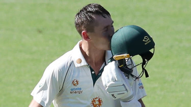 Marnus Labuschagne made his fifth Test century, against India.