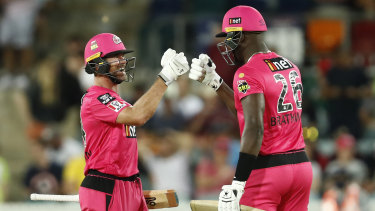 Dan Christian and Carlos Brathwaite playing for the Sixers in January this year.