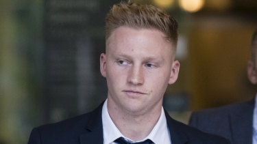 Sam Oliver outside Downing Centre Local Court in September 2018.