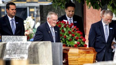 Senator Barney Cooney is laid to rest at Cheltenham Memorial Park on Friday.