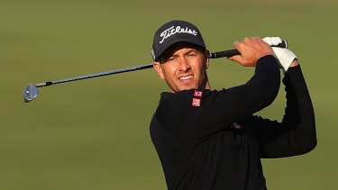 Adam Scott gets a feel for The Australian Golf Club on Wednesday.