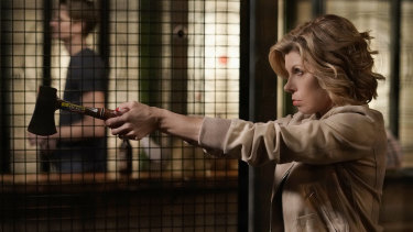 Diane Lockhart (Christine Baranski) gives new meaning to the idea of having an axe to grind with Trump's America in The Good Fight.