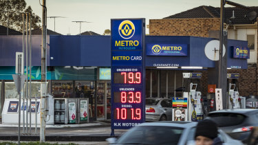 Petrol prices plunged on Tuesday. This service station in Brunswick was selling unleaded petrol for 83.9 cents a litre.