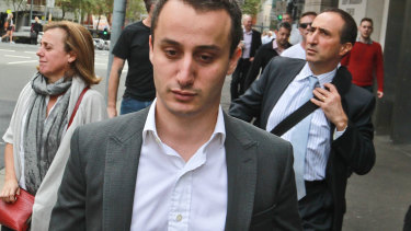 Luke Lazarus outside court during  his trial in April 2017.