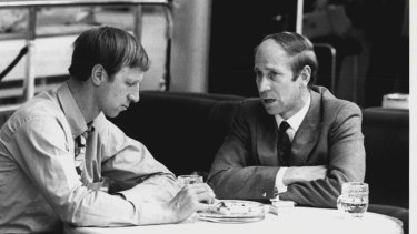 Jack Charlton (left) and his brother Bobby at Heathrow waiting to fly to the Mexico World Cup in 1970.
