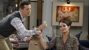 Will & Grace's Megan Mullally in full flight as Karen with Sean Hayes as Jack.
