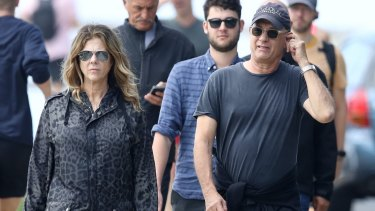 Rita Wilson and Tom Hanks photographed in Sydney on the weekend.