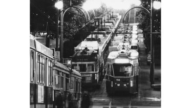 It's 12.30 am in the Bourke Street Mall, and the trams line up two abreast from end to end.
