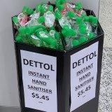 50ml packs of Dettol hand sanitiser selling at Sydney Airport for $5.45.