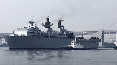 Tailed: British Royal Navy's HMS Albion.