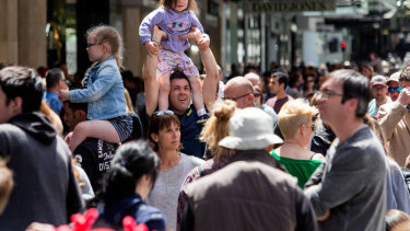 Christmas shopping crowds in Bourke Street Mall last week.