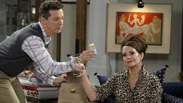 Will & Grace's Megan Mullally in full flight as Karen with Sean Hayes as Jack.