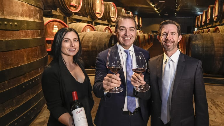Penfolds ambassador Zoe Warrington, SA Premier Steven Marshall and Minister for Trade Simon Birmingham.