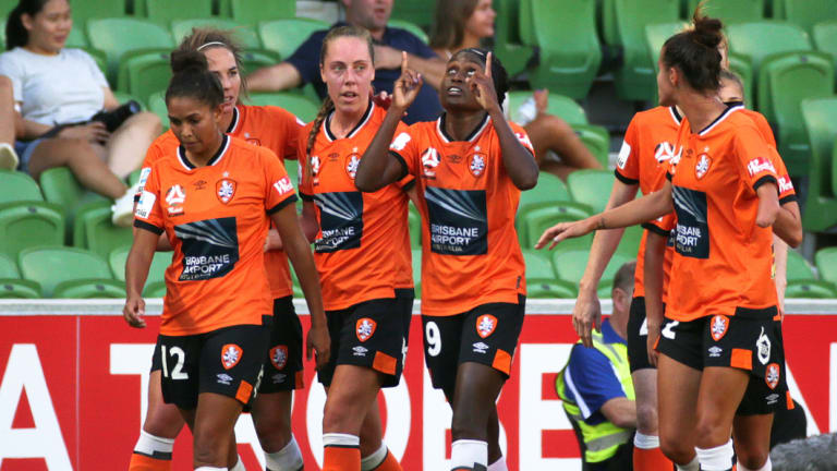 Chioma Ubogagu points to the sky after breaking the deadlock for Brisbane Roar.