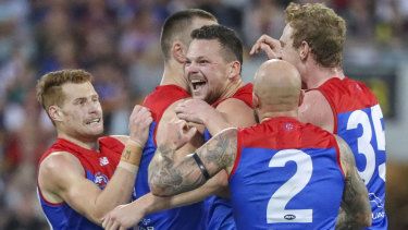May's Day: Steven May after booting a goal against Brisbane.