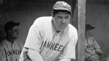 Babe Ruth, pictured in 1929 wearing a jersey like the one that sold for $US5.6 million.