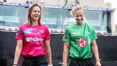 Ellyse Perry (Sixers) and Meg Lanning (Stars) relax in Hobart ahead of the new WBBL season.