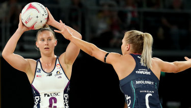 Mahalia Cassidy of the Sunshine Coast Lightning in action during the round two Super Netball contest against the Melbourne Vixens at John Cain Arena.