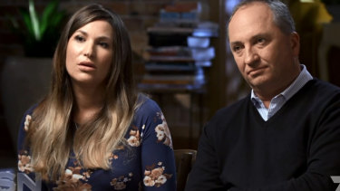 Vikki Campion and Barnaby Joyce during their paid interview on the Seven Network in 2018.
