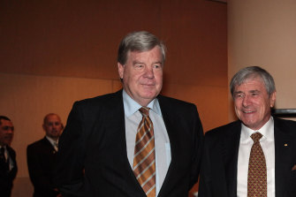 David Leckie, left, and Seven West Media chairman Kerry Stokes.