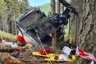 Some of the victims were thrown into the woods as the cable car crashed to the ground.