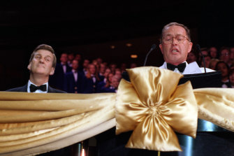 Then premier Jeff Kennett (left) and casino boss Lloyd Williams at the cutting of the ribbon to officially open the Crown Casino in 1997.