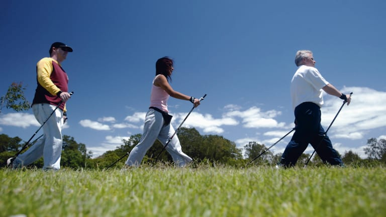 Nordic walking is catching on in Canberra.