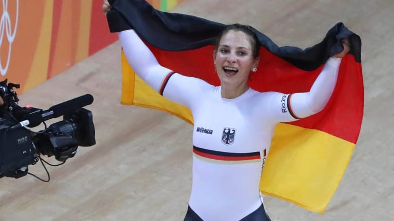 Kristina Vogel of Germany celebrates after winning the women's Sprint gold medal at the Rio 2016 Olympic Games.