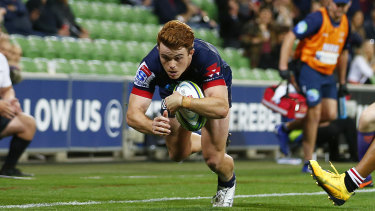 Andrew Kellaway scores a try for the Rebels earlier this year.