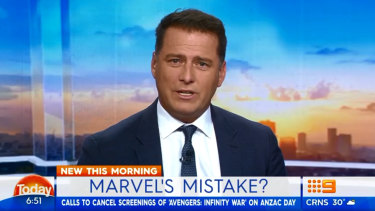 Karl Stefanovic has lashed out at cinemas for releasing the new Avengers film on ANZAC Day.