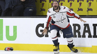 A long time coming: Star player Alex Ovechkin reacts after the game.