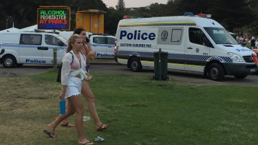 There was a large police presence at Bronte beach on Christmas Day.