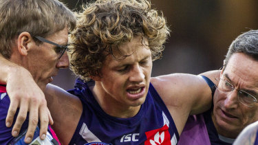Fremantle captain Nat Fyfe is an unlikely starter in Saturday night's derby.
