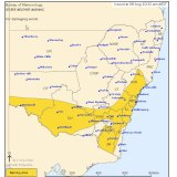 The weather bureau's severe weather warning issued for southern and eastern parts of NSW.