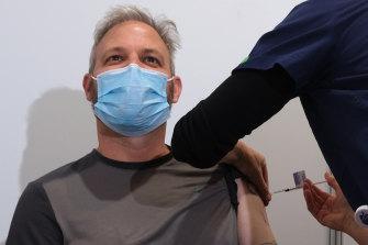 Chief Health Officer Professor Brett Sutton getting the AstraZeneca jab.